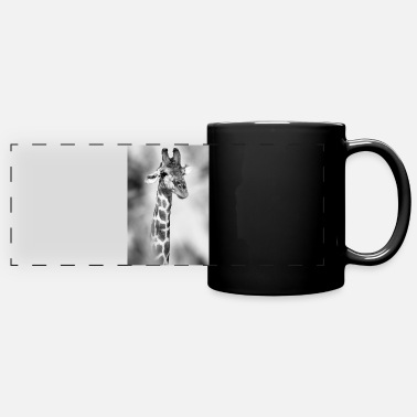 Namibia Curious giraffe hiding behind trees - Panoramic Mug