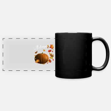 Brother Of Birthday Boy Pumpkin in autumn with leaves - Panoramic Mug
