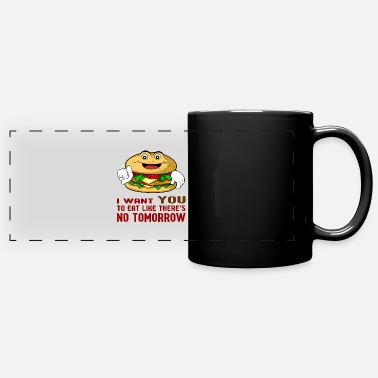 Hamburger cheeseburger mangeant un cadeau de restauration rapide - Mug panoramique