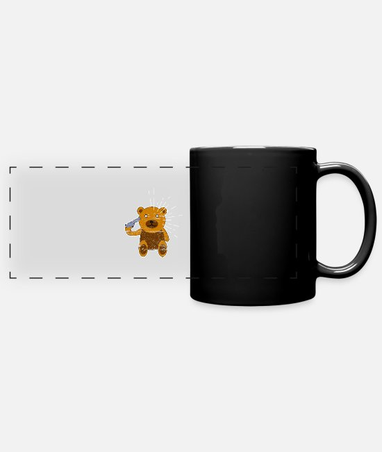 Dark Humour Mugs & Drinkware - Headshot Teddy - Panoramic Mug black