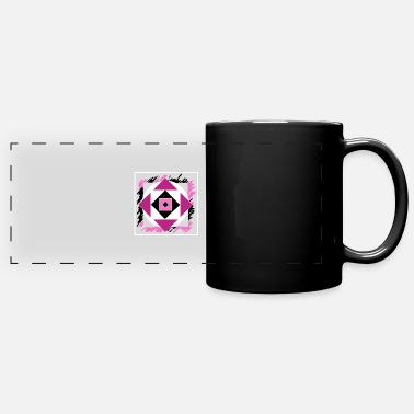 Dice Pink abstract art - Panoramic Mug
