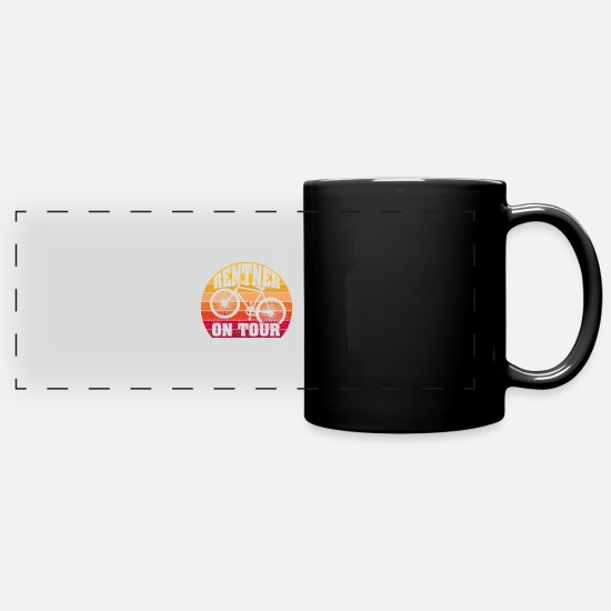 Gift Idea Mugs & Drinkware - Pensioners on Tour | Bicycle | Bike - Panoramic Mug black