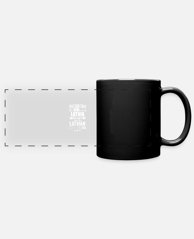 Latvia Mugs & Drinkware - Can take girl out of Latvia but Can't take the - Panoramic Mug black