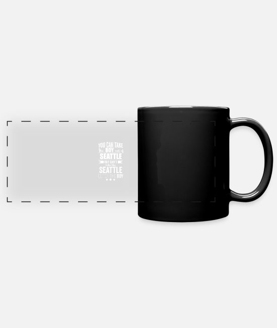 Usa Mugs & Drinkware - Can take boy out of Seattle but Can't take the - Panoramic Mug black