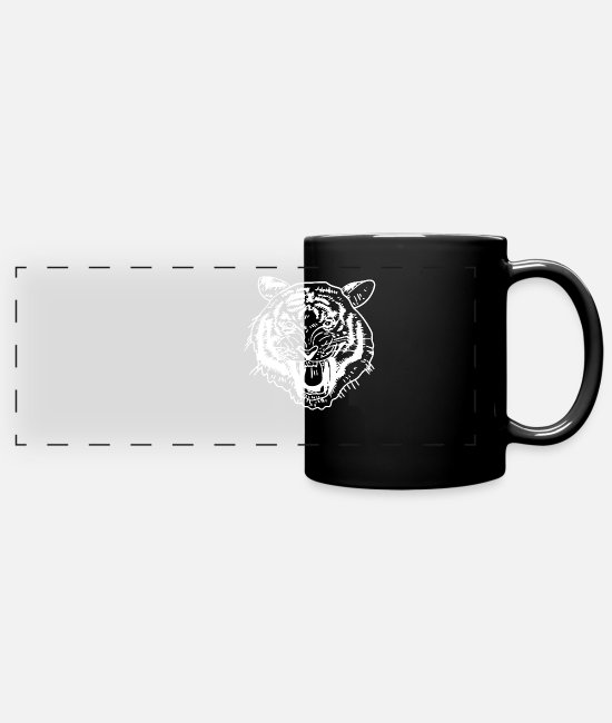 Wild Cat Mugs & Drinkware - Tiger Head Safari Wilderness Wildcat Strong Gift - Panoramic Mug black