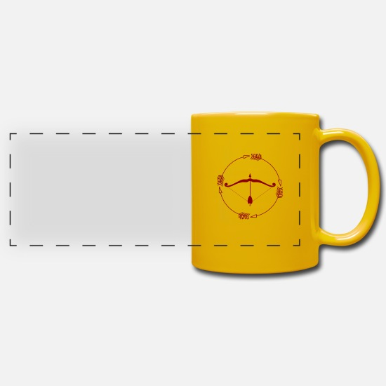 Gift Idea Mugs & Drinkware - Bow and arrow - bow and arrow - Panoramic Mug sun yellow