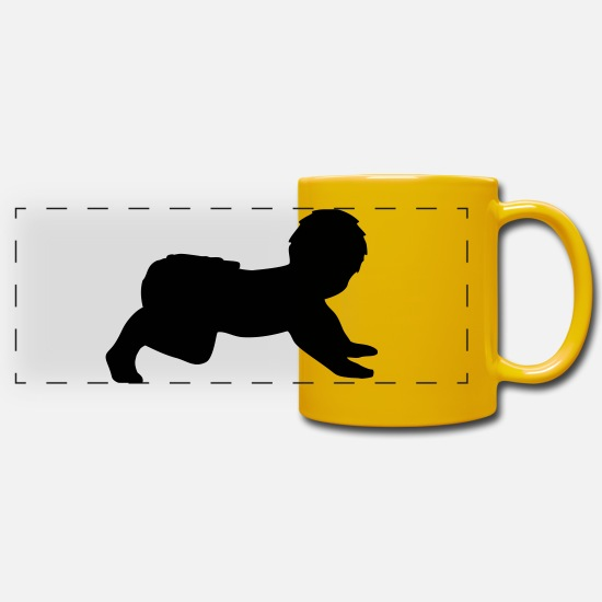Small Mugs & Drinkware - Crawling Baby - Panoramic Mug sun yellow