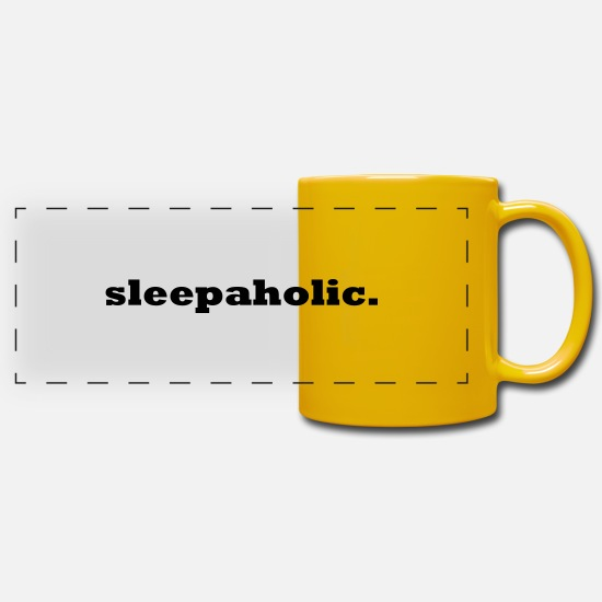 Sleep Mugs & Drinkware - Sleepaholic Sleepyhead Dreamer Sleeper Sloth - Panoramic Mug sun yellow