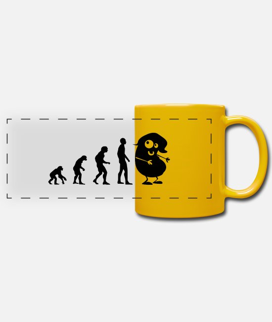 Funny Pictures Mugs & Drinkware - Evolution - the bean - Panoramic Mug sun yellow