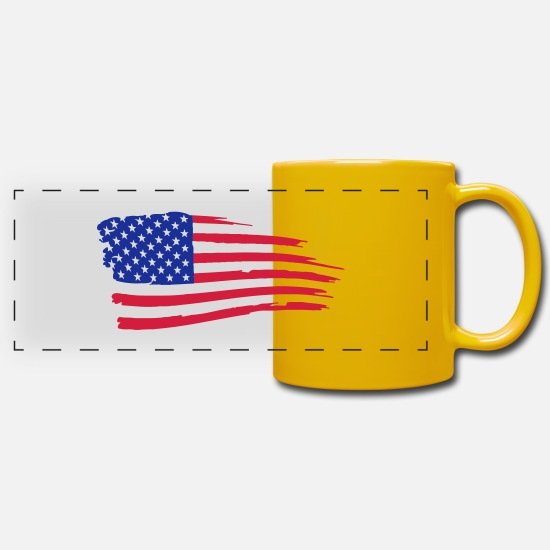 Flag Mugs & Drinkware - usa_flag_on_white - Panoramic Mug sun yellow