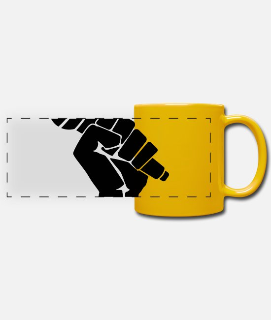 Rap Mugs & Drinkware - Fight for Music Freedom Rap - Panoramic Mug sun yellow