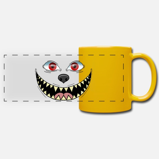 Nose Mugs & Drinkware - smile grinn monster horror - Panoramic Mug sun yellow