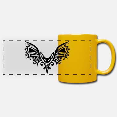 Fly Tattoo Flying Bat, Tribal and Tattoo Design - Panoramic Mug