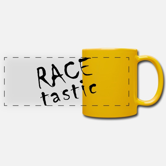 Race Track Mugs & Drinkware - RACE tastic - Panoramic Mug sun yellow