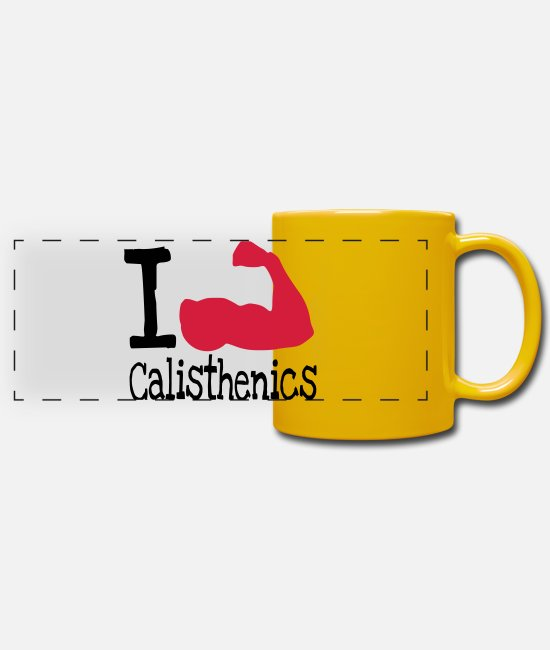 Training Mugs & Drinkware - I love calisthenics_red - Panoramic Mug sun yellow
