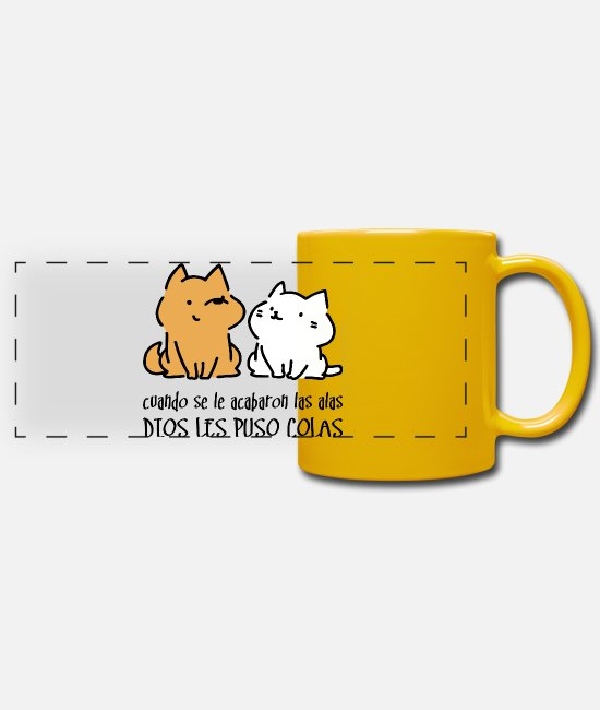 Cola Mugs & Drinkware - Dios les puso colas - Panoramic Mug sun yellow