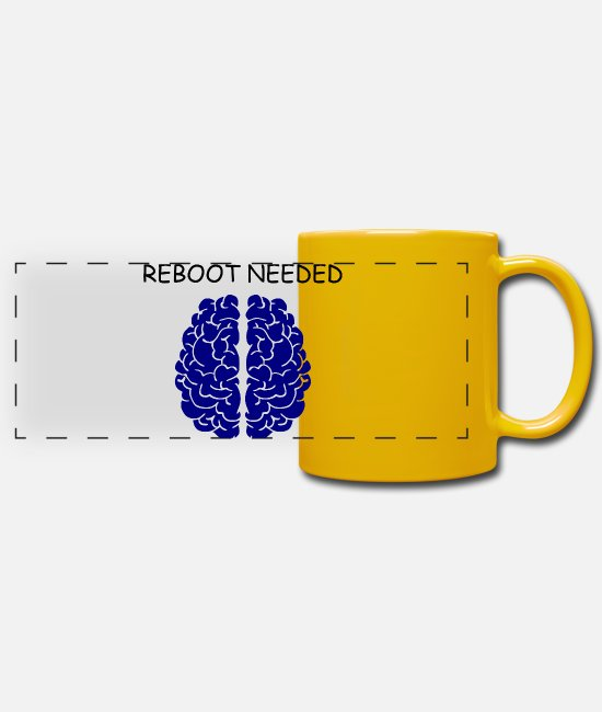 Brain Mugs & Drinkware - Reboot Needed, Funny Cool Funny Nerd Geek Funny - Panoramic Mug sun yellow