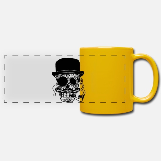 Skull Mugs & Drinkware - Sugar Skull - Panoramic Mug sun yellow