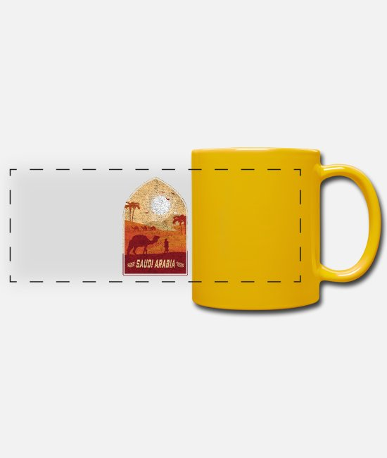 Saudi Arabia Mugs & Drinkware - Saudi Arabia vintage camel design / gift idea - Panoramic Mug sun yellow