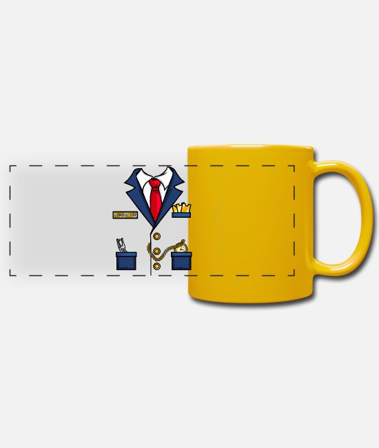 Bachelor Party Mugs & Drinkware - Conductor train suit costume conductor carnival - Panoramic Mug sun yellow