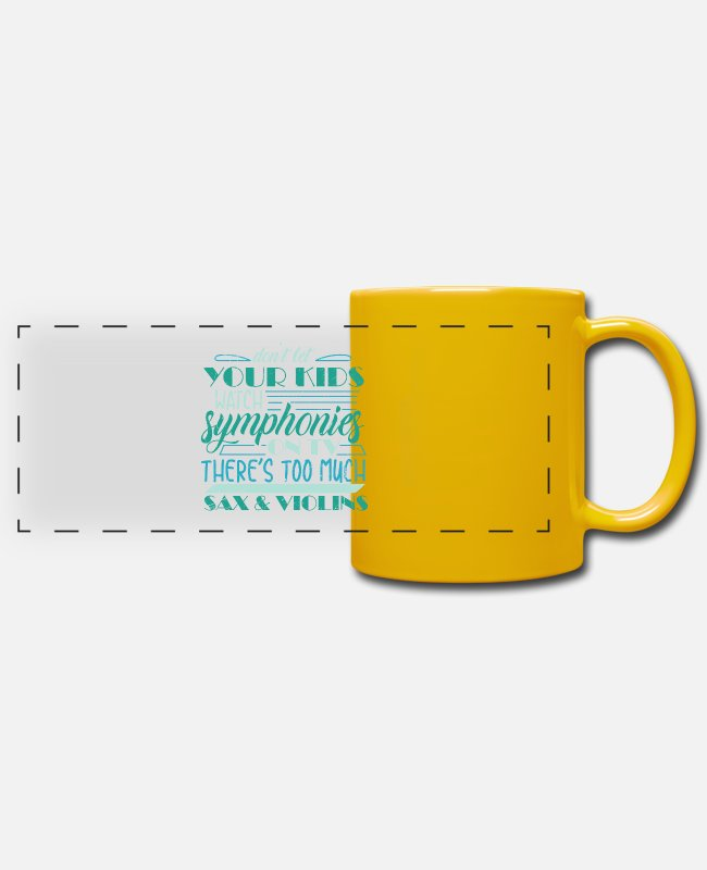 Fidel Mugs & Drinkware - Saying with saxophone and violin - violin - Panoramic Mug sun yellow