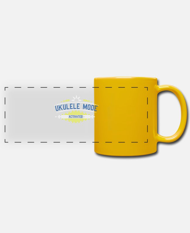 Hula Mugs & Drinkware - Ukulele Mode Activated - Ukulele - Panoramic Mug sun yellow