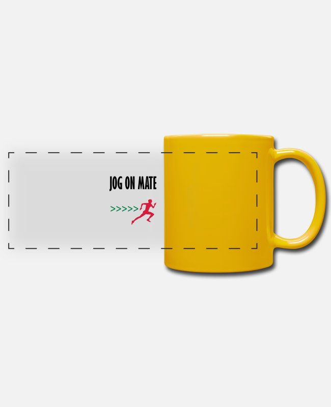 Mateo Mugs & Drinkware - jog on mate - Panoramic Mug sun yellow