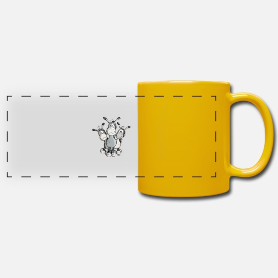 Donkey Mugs & Drinkware - Three Cute Donkeys - Panoramic Mug sun yellow