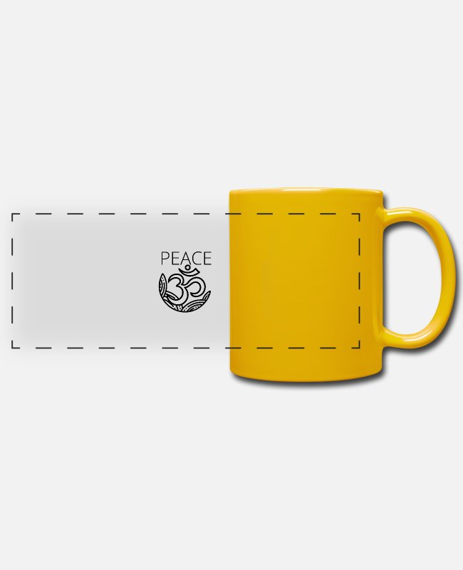 Heart Mugs & Drinkware - PEACE, PEACE, PEACE - Panoramic Mug sun yellow