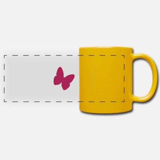 Butterfly Mugs & Drinkware - butterflies butterfly - Panoramic Mug sun yellow