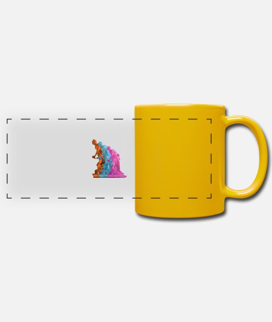 Sicily Mugs & Drinkware - Vintage - Arte 02 - Panoramic Mug sun yellow