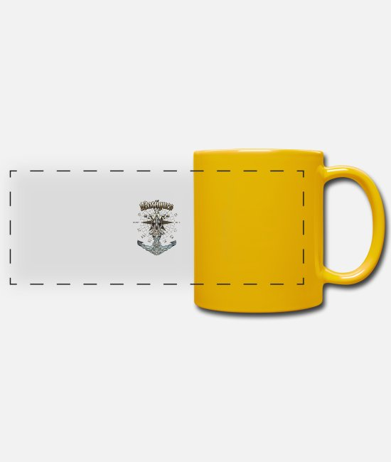 Diver Mugs & Drinkware - Martigues Anchor Nautical Sailing Boat Summer - Panoramic Mug sun yellow