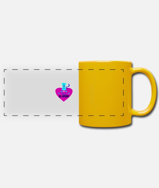 I Love K Pop Fabulous K Pop Vector Design For Must Have Cool K Pop Stylish Clothing Mugs & Drinkware - ♥♫I Love Kpop-Saranghaeyo KPop-Kpopholic♪♥ - Panoramic Mug sun yellow