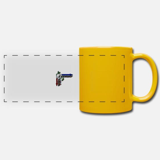 Birthday Mugs & Drinkware - In Turbo we Trust - Panoramic Mug sun yellow