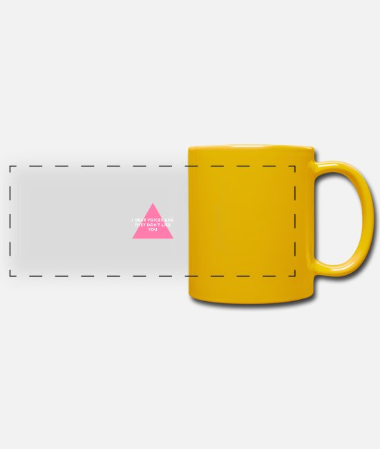 Neon Mugs & Drinkware - I hear voices and they don't like you - Panoramic Mug sun yellow