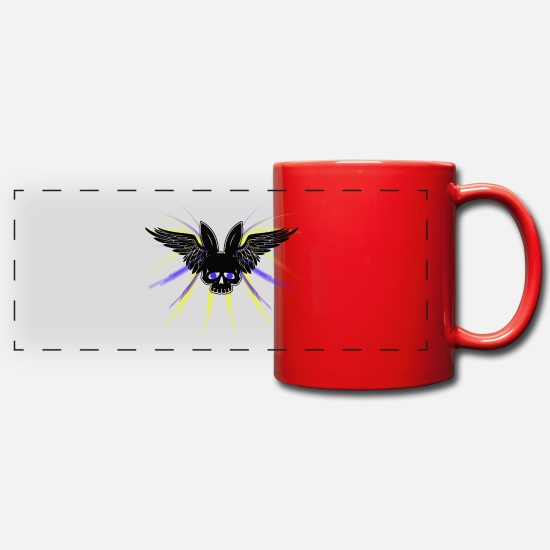 Wing Mugs & Drinkware - Skull with bunnies ears and wings - Panoramic Mug red