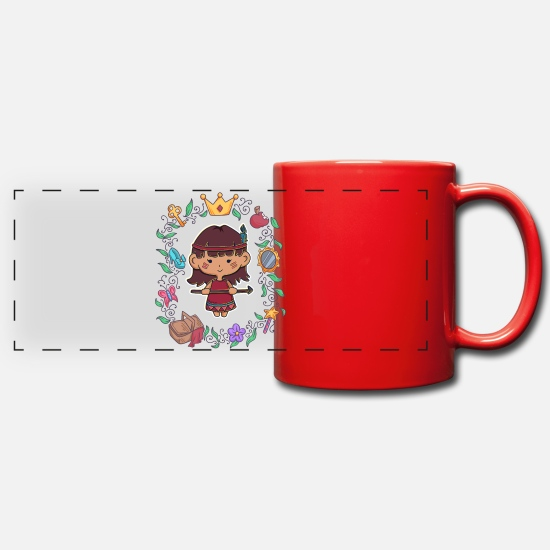 Tent Mugs & Drinkware - Children girls indians anime manga comic gift - Panoramic Mug red