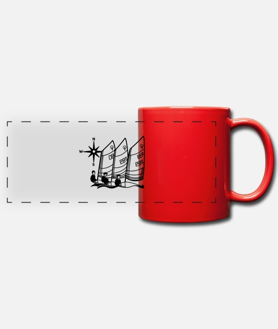 Optimist Mugs & Drinkware - Optimist Sailing Regatta - kids - sailing kids - Panoramic Mug red