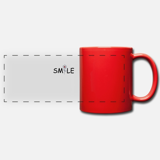 Gift Idea Mugs & Drinkware - Lächle,Blume,Geschenk - Panoramic Mug red