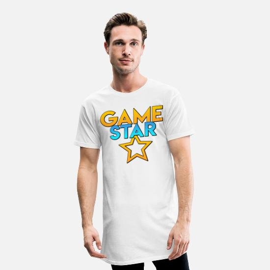 Shooting Star T-Shirts - Game star with star / gamerstar - Men's Long T-Shirt white