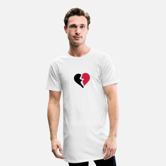 Broken T-Shirts - love heart heart break break break - Men's Long T-Shirt white