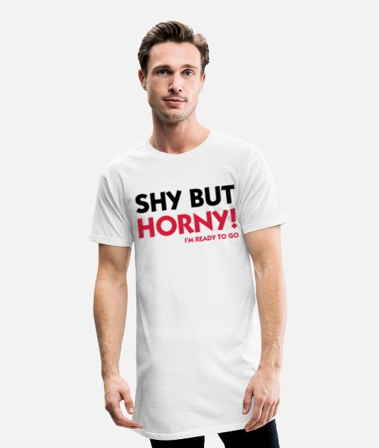 Tits T-Shirts - Shy but horny. Here we go! - Men's Long T-Shirt white