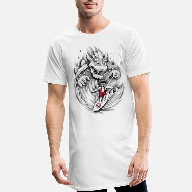 Hokusai Geek Surfing Mario - Men's Long T-Shirt