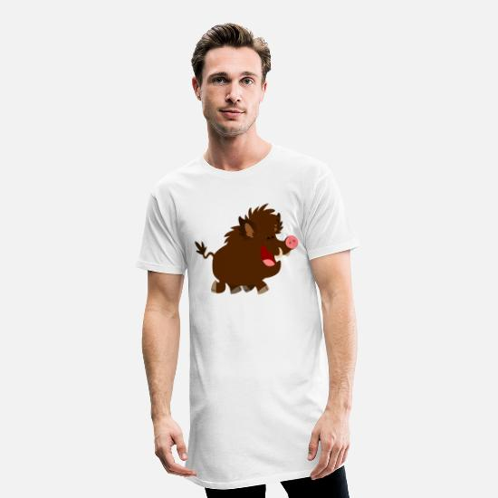 Animal T-Shirts - Joyous Cartoon Wild Boar by Cheerful Madness!! - Men's Long T-Shirt white