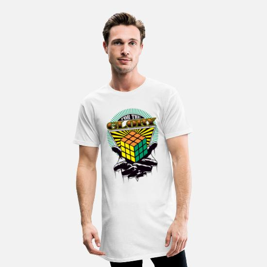 Nerd Camisetas - Rubik's For The Glory - Camiseta de corte largo hombre blanco