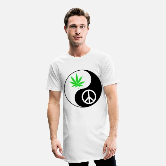 Gift Idea T-Shirts - Marijuana Peace Yin Yang - Men's Long T-Shirt white