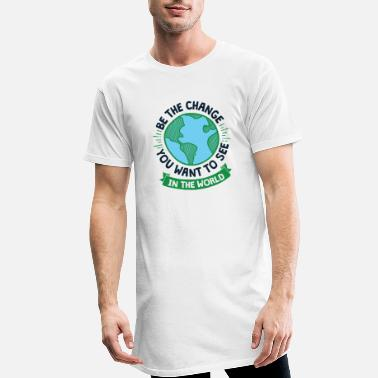Climate Change Cool Earth Day Design Be the Change - Men's Long T-Shirt