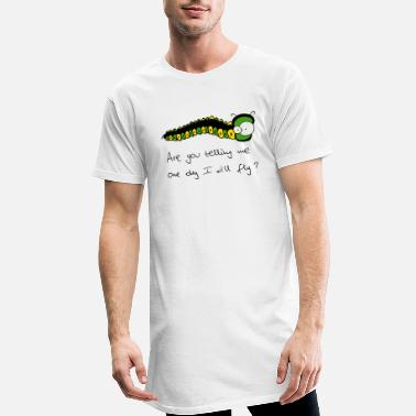 Freaky freaky caterpillar text - Camiseta de corte largo hombre