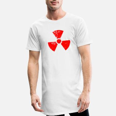 Yellow Radioactivity Symbol Red red. Radioactive, radioactivity symbol - Men's Long T-Shirt