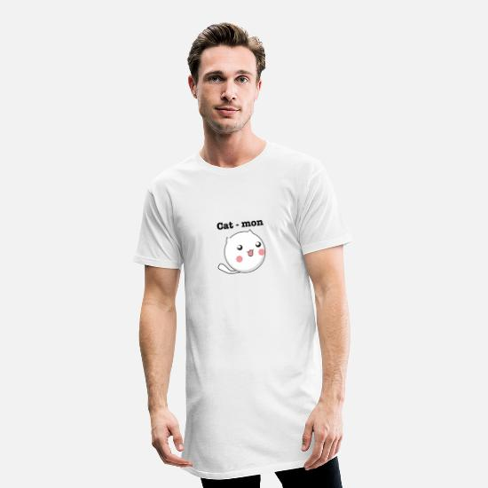 Gift Idea T-Shirts - CAT MON - Men's Long T-Shirt white